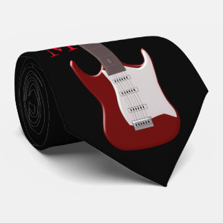 Monogrammed Red Electric Guitar Tie