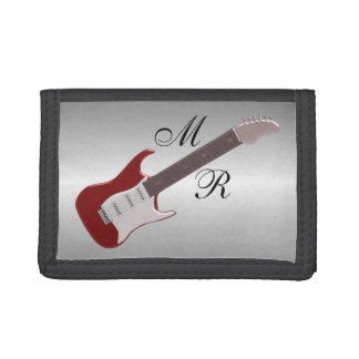 Monogrammed Red Electric Guitar Tri-fold Wallets