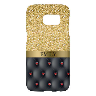 Monogrammed Red Hearts And Gold Glitter Samsung Galaxy S7 Case