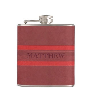 Monogrammed Red Leather Flask