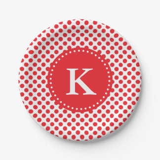 Monogrammed Red on White Polka Dot Paper Plate