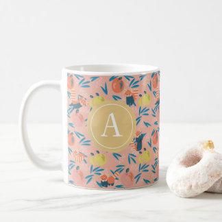 Monogrammed 'Red Panda' Pink Apple Mug