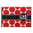MONOGRAMMED RED POLKA DOTS PATTERN iPad AIR COVER