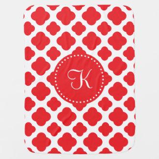 Monogrammed Red Quatrefoil Pattern Baby Blanket