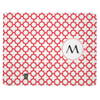 Monogrammed Red Quatrefoil Pattern Journal