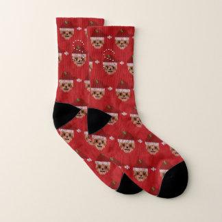 Monogrammed Red Santa Sloth Ugly Christmas Socks 1