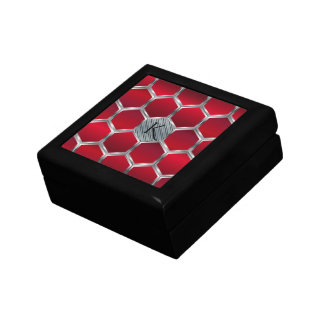 Monogrammed Red & Silver Geometric Pattern Gift Box