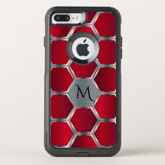 Monogrammed Red & Silver Geometric Pattern OtterBox Commuter iPhone 8 Plus/7 Plus Case