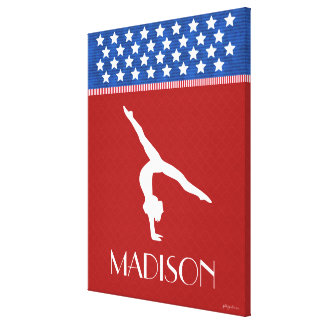 Monogrammed Red, White, and Blue American Gymnast Gallery Wrap Canvas