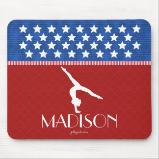 Monogrammed Red, White, and Blue American Gymnast Mouse Pad