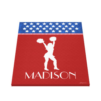 Monogrammed Red, White, Blue American Cheerleader Stretched Canvas Prints
