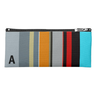 Monogrammed Red Yellow Blue Grey Stripes Pencil Case