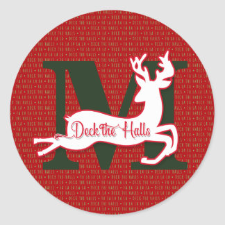 Monogrammed Reindeer Holiday Red and White Round Sticker