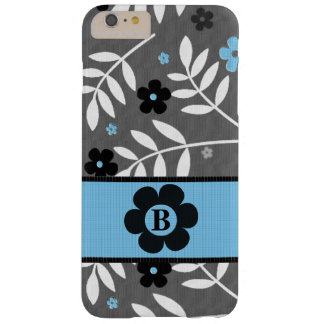 Monogrammed Retro Blue Floral Theme Barely There iPhone 6 Plus Case