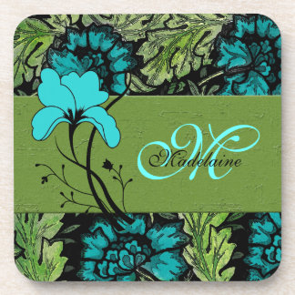Monogrammed Retro Floral Green and Turquoise Blue Coaster