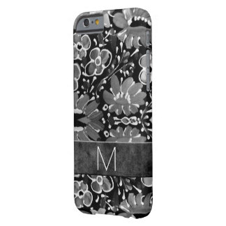 Monogrammed Retro Flower Power Theme Gray Barely There iPhone 6 Case