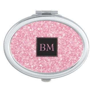 Monogrammed Retro Pink Glitter & Sparkles Mirror For Makeup