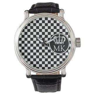 Monogrammed RF Royal Black Checkered Watch