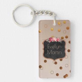 Monogrammed Rose Gold Dots | Vintage Chalkboard Keychain