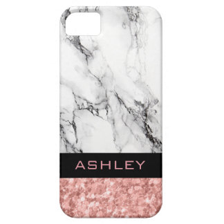 Monogrammed Rose Gold Glitter And White Marble Case For The iPhone 5