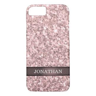 Monogrammed Rose Gold Glitter White Sparks iPhone 8/7 Case