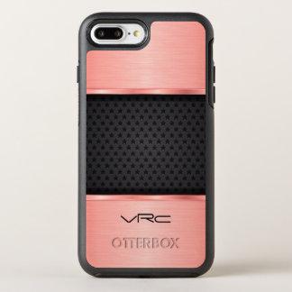 Monogrammed Rose Gold Metallic Design And  Black OtterBox Symmetry iPhone 8 Plus/7 Plus Case