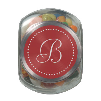 Monogrammed Round Aurora Red/White Dot Border