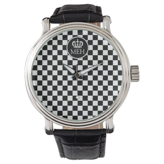 Monogrammed Royal Black Chequered Watch