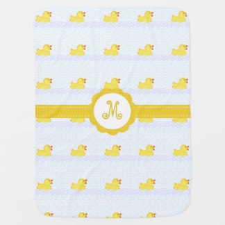 Monogrammed Rubber Ducky Baby Blanket