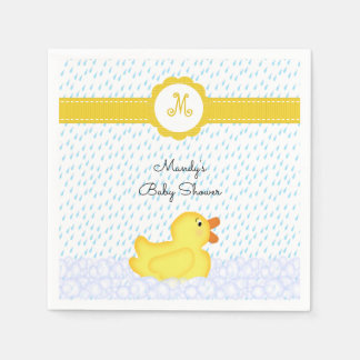 Monogrammed Rubber Ducky Baby Shower Napkins Disposable Napkin