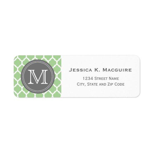 Monogrammed Sage Green & Grey Return Address Label
