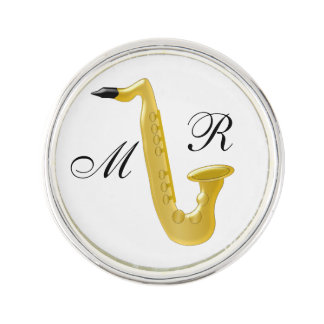 Monogrammed Saxophone Lapel Pin