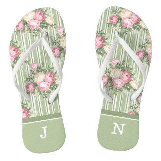 Monogrammed shabby chic pink roses green stripes flip flops