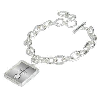 Monogrammed Silver Banjo Design Charm Bracelets