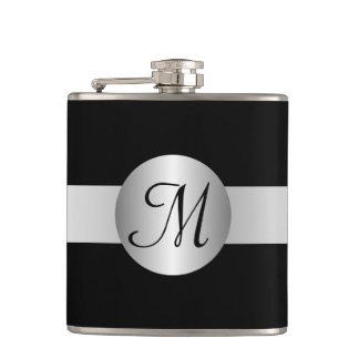 Monogrammed Silver Colored Circle Hip Flask