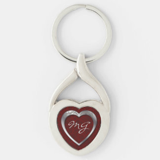 Monogrammed Silver Heart on Red - Key Chain
