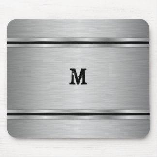 Monogrammed Silver Metallic Geometric Design Mouse Pad