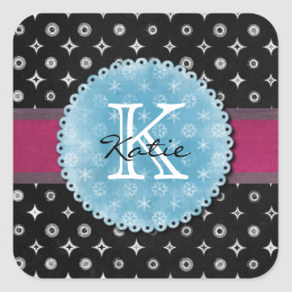 Monogrammed Silver Star Square Sticker