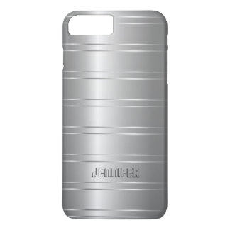 Monogrammed Silver Stripes iPhone 8 Plus/7 Plus Case