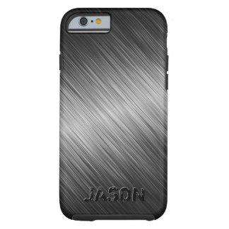 MonogramMed Simple Black Brushed Metal Look Tough iPhone 6 Case