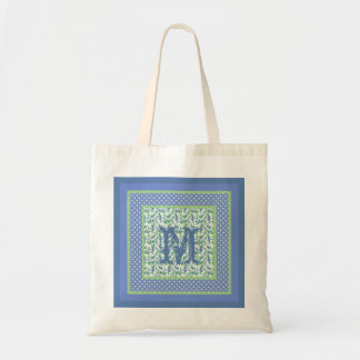 Monogrammed Snowdrops and Polka Dots Blue, Green Tote Bag