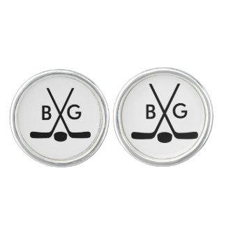 Monogrammed Sport Hockey Player Stick Puck Cuff Links