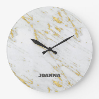 Monogrammed Spotted Gold Glitter Large Clock