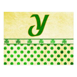 Monogrammed St. Patrick's Day Irish Cards, Postage Postcards
