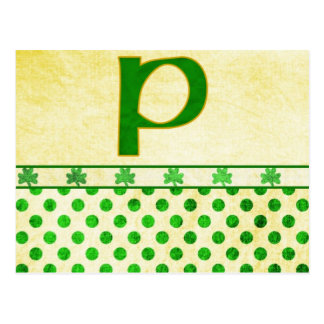 Monogrammed St. Patrick's Day Irish Cards, Postage Postcard