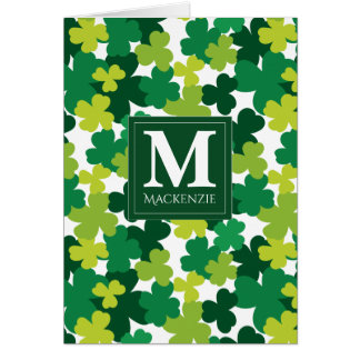 Monogrammed St. Patrick's Day Shamrocks Card
