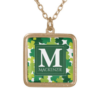 Monogrammed St. Patrick's Day Shamrocks Gold Plated Necklace