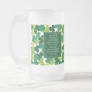 Monogrammed St. Patrick's Day With Irish Blessing Frosted Glass Beer Mug