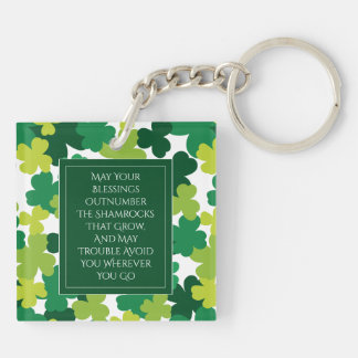 Monogrammed St. Patrick's Day With Irish Blessing Keychain
