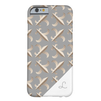 Monogrammed Striped fleur de lis pattern Barely There iPhone 6 Case